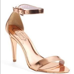 Ted Baker Rose Gold  Pink Leather Heels size 6.5